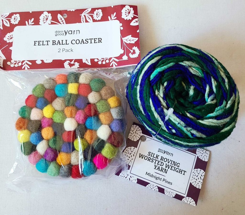 a photo of coasters and yarn