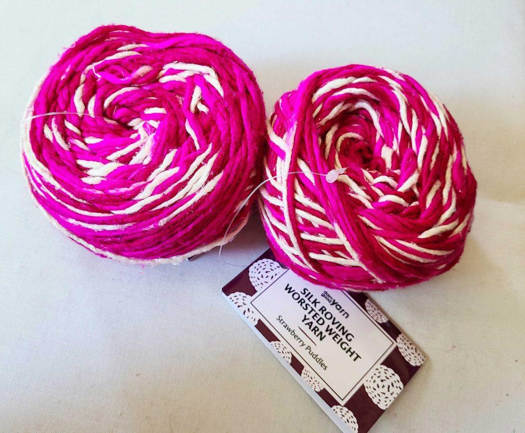 a photo of pink yarn