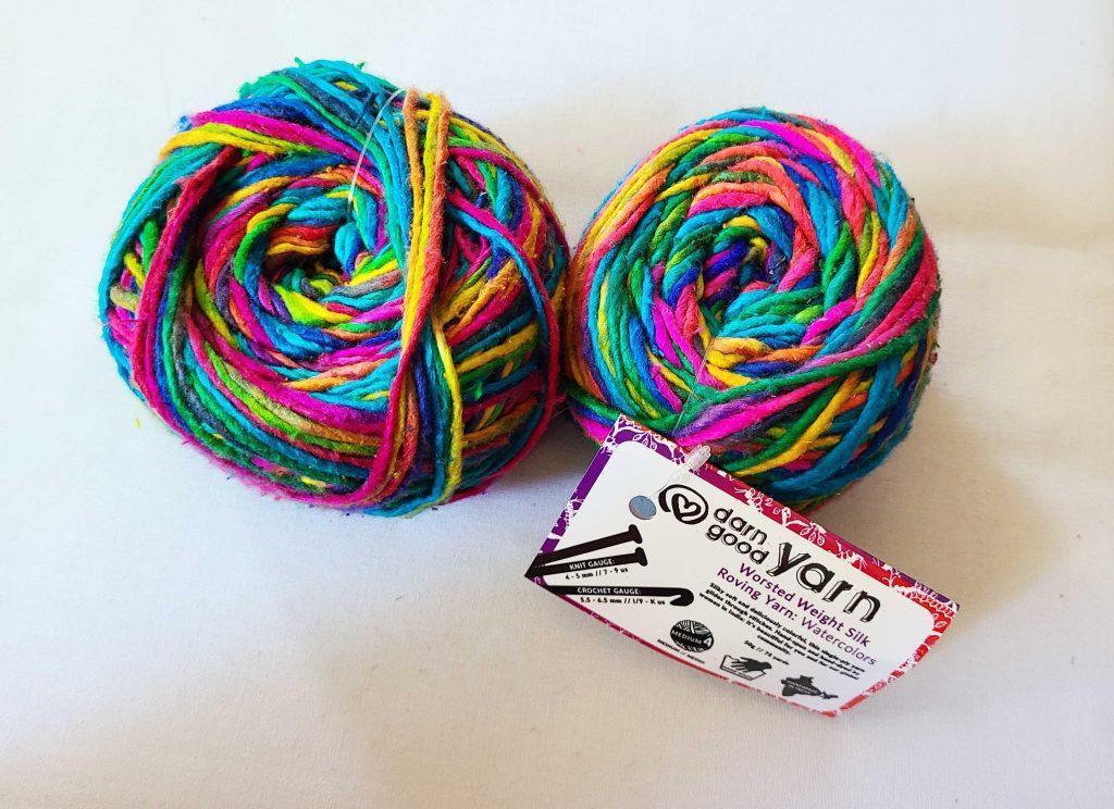 a photo of rainbow yarn